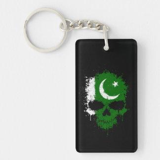 Cráneo de la salpicadura del goteo de Paquistán Llavero Rectangular Acrílico A Doble Cara