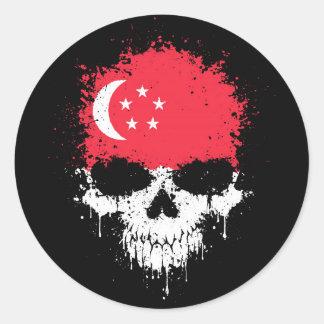 Cráneo de la salpicadura del goteo de Singapur Pegatina Redonda