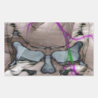 Cráneo de la sangría pegatina rectangular