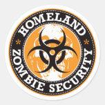 Cráneo de la seguridad del zombi de la patria - na etiqueta redonda