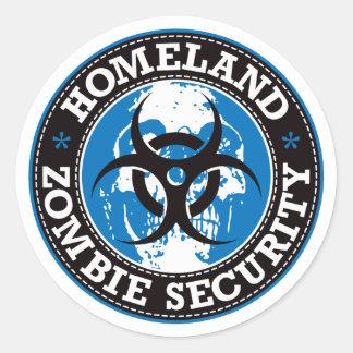 Cráneo de la seguridad del zombi de la patria - etiqueta redonda