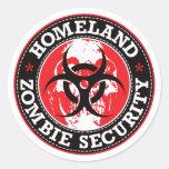 Cráneo de la seguridad del zombi de la patria - etiquetas redondas