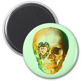 Cráneo de la tarjeta del día de San Valentín del o Imán Redondo 5 Cm