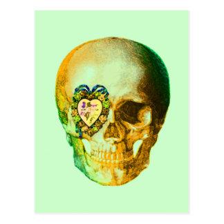 Cráneo de la tarjeta del día de San Valentín del o Tarjetas Postales