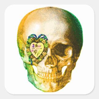 Cráneo de la tarjeta del día de San Valentín del Pegatina Cuadrada