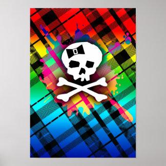 Cráneo de la tela escocesa del arco iris póster