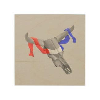 Cráneo de la vaca con Blue Ribbon blanco rojo Cuadro De Madera