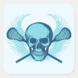 Cráneo de LaCrosse - azul Pegatina Cuadrada