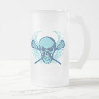 Cráneo de LaCrosse - azul Taza Cristal Mate