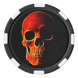 Cráneo de las fichas de póker de la plantilla de fichas de póquer