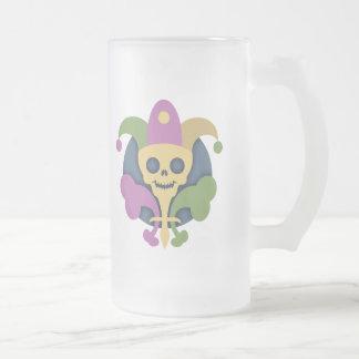 cráneo-de-lis-T Jarra De Cerveza Esmerilada