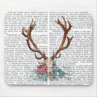 Cráneo de los ciervos con las flores 2 tapetes de raton