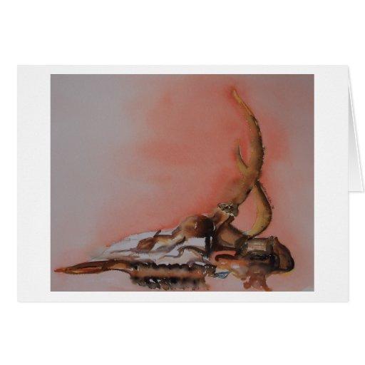Cráneo de los ciervos tarjeta de felicitación