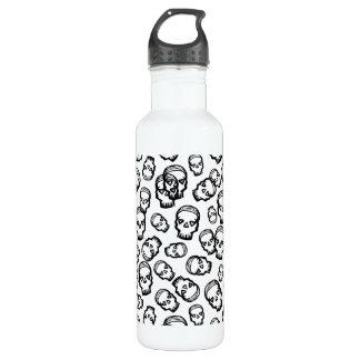Cráneo de los corazones - B&W Botella De Agua De Acero Inoxidable