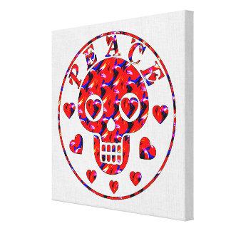Cráneo de los corazones de la paz impresiones de lienzo