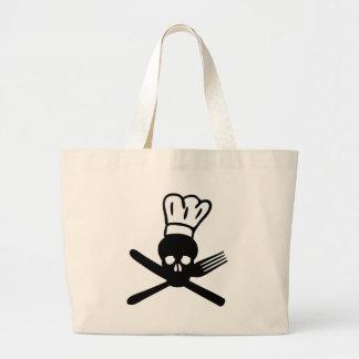 cráneo de los cubiertos con el icono del cocinero  bolsa de mano