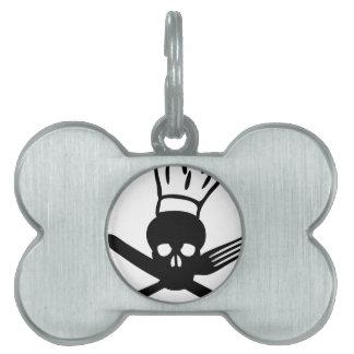 cráneo de los cubiertos con el icono del cocinero  placa de nombre de mascota
