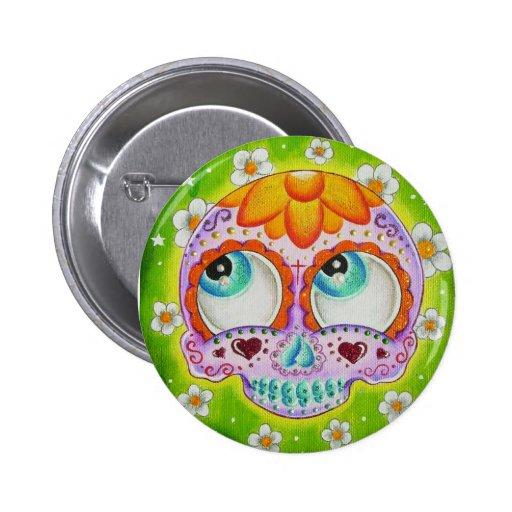 Cráneo de los Margaritas Pin Redondo De 2 Pulgadas
