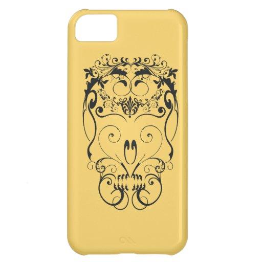 Cráneo de los ornamentos florales funda para iPhone 5C