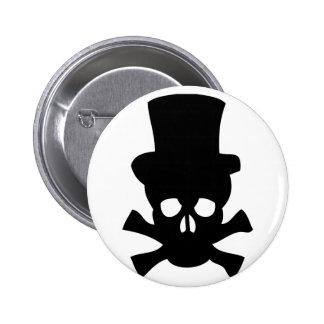 Cráneo de metales pesados con el sombrero de copa pins