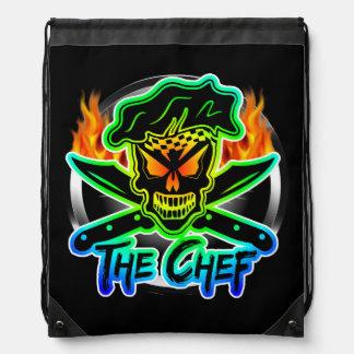 Cráneo de neón del cocinero mochilas
