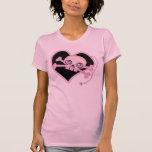 Cráneo de neón rosado camisetas