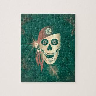 Cráneo de oro divertido del suger con el pañuelo puzzle