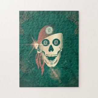 Cráneo de oro divertido del suger con el pañuelo rompecabeza