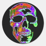 Cráneo de Psychedellic Etiquetas Redondas
