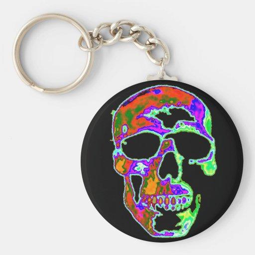 Cráneo de Psychedellic Llavero Redondo Tipo Pin