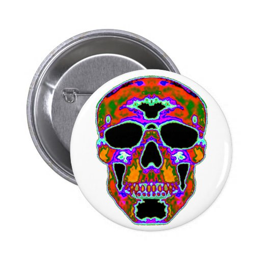 Cráneo de Psychedellic Pin Redondo 5 Cm