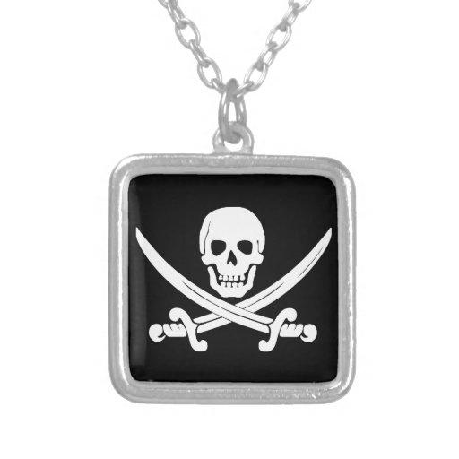 Cráneo de Rogelio de la bandera de pirata y regalo Colgante Cuadrado