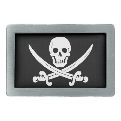 Cráneo de Rogelio de la bandera de pirata y regalo Hebilla Cinturon Rectangular