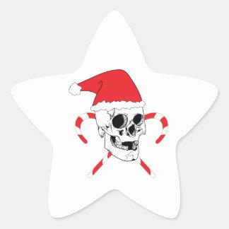 Cráneo de Santa con el gorra del navidad Pegatina En Forma De Estrella