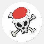 Cráneo de Santa del navidad Etiquetas Redondas