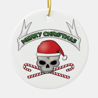 Cráneo de Santa y ornamento del navidad de la Adorno Redondo De Cerámica