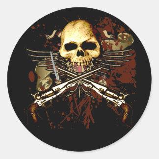 Cráneo de Sixgun Pegatina Redonda