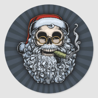 Cráneo de Smokin Santa Etiquetas Redondas