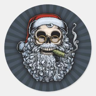 Cráneo de Smokin Santa Pegatinas Redondas