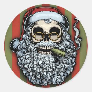 Cráneo de Smokin Santa Pegatina Redonda