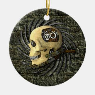 Cráneo de Steampunk Adorno Navideño Redondo De Cerámica