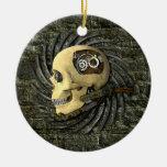 Cráneo de Steampunk Adorno Redondo De Cerámica
