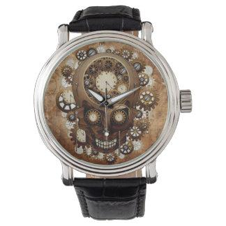 Cráneo de Steampunk del cobre del Grunge del Relojes