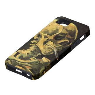Cráneo de Van Gogh con el cigarrillo ardiente, art iPhone 5 Carcasas