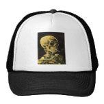 Cráneo de Van Gogh con el cigarrillo ardiente, art Gorras De Camionero