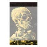 Cráneo de Van Gogh con el cigarrillo ardiente, art Papeleria De Diseño