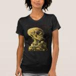 Cráneo de Van Gogh con el cigarrillo ardiente, art Camisetas