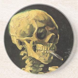 Cráneo de Van Gogh con el cigarrillo ardiente art Posavasos Personalizados