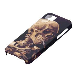 Cráneo de Van Gogh con el cigarrillo ardiente iPhone 5 Case-Mate Fundas