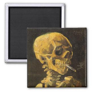 Cráneo de Van Gogh con el cigarrillo ardiente Imanes De Nevera